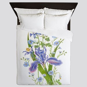 Blue Bouquet Queen Duvet