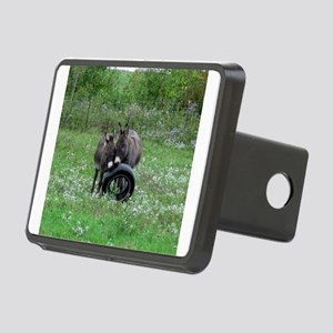 Miniature donkeys playing Rectangular Hitch Cover
