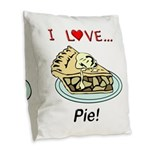 I Love Pie Burlap Throw Pillow
