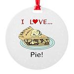 I Love Pie Round Ornament