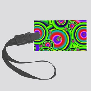 Psychedelic Circles by designeff Large Luggage Tag