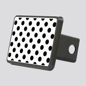 Black and White Polka Dots Rectangular Hitch Cover