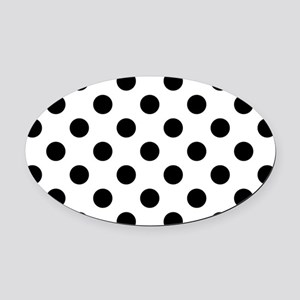 Black and White Polka Dots Oval Car Magnet