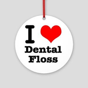 I Heart (Love) Dental Floss Ornament (Round)
