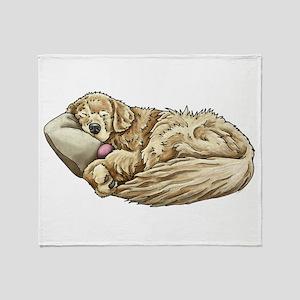 Golden Retriever Sleeping Throw Blanket