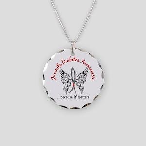 Juvenile Diabetes Butterfly Necklace Circle Charm
