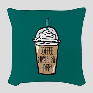 Coffee Makes Me Happy Woven Throw Pillow