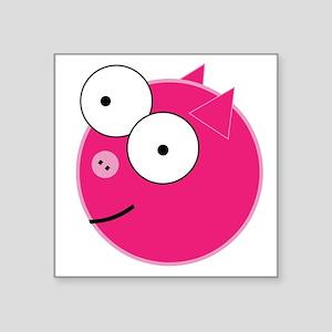 """Crazy Pig Square Sticker 3"""" x 3"""""""