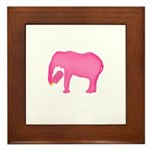 Pink Elephant With a Popsicle Framed Tile