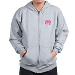 Pink Elephant With a Popsicle Zip Hoodie
