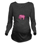 Pink Elephant With a Popsicle Long Sleeve Maternit