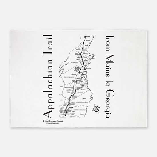 Appalachian Trail Map 5'x7'Area Rug