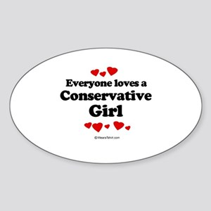 Everyone loves a conservative girl Oval Sticker