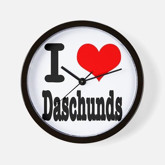 I Heart (Love) Daschunds Wall Clock