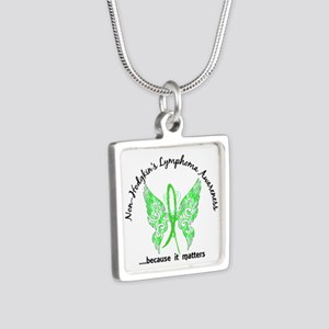 NH Lymphoma Butterfly 6.1 Silver Square Necklace