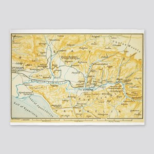 Vintage Map of Olympia Greece (1894 5'x7'Area Rug