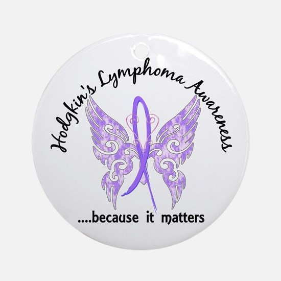 Hodgkin's Lymphoma Butterfly 6.1 Ornament (Round)