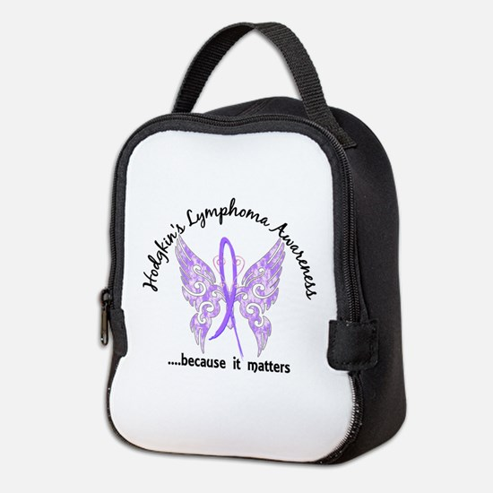 Hodgkin's Lymphoma Butterfly 6. Neoprene Lunch Bag