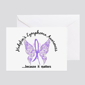 Hodgkin's Lymphoma Butterfly 6.1 Greeting Card