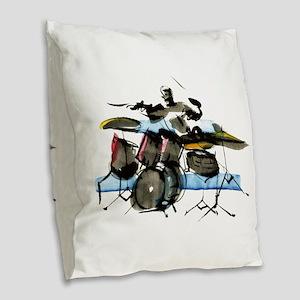 Drummer Burlap Throw Pillow