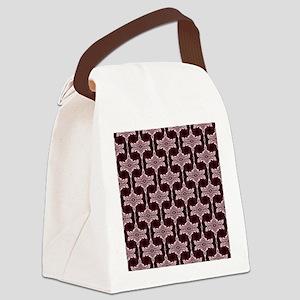Maroon Art Deco Pattern Canvas Lunch Bag