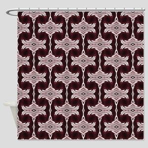 Maroon Art Deco Pattern Shower Curtain