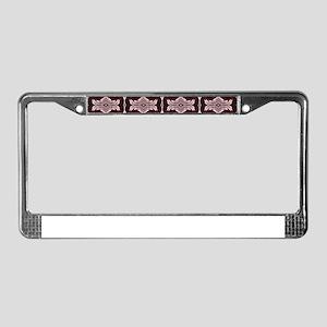 Maroon Art Deco Pattern License Plate Frame