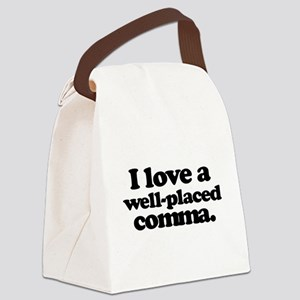 I love a well-placed comma. Canvas Lunch Bag
