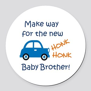 NEW BABY BROTHER Round Car Magnet