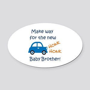 NEW BABY BROTHER Oval Car Magnet