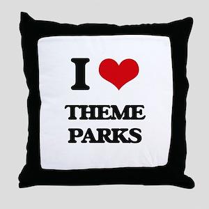 I love Theme Parks Throw Pillow