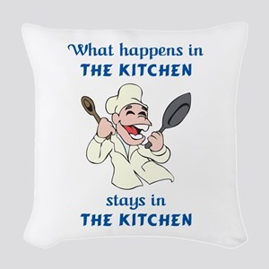 WHAT HAPPENS IN KITCHEN Woven Throw Pillow