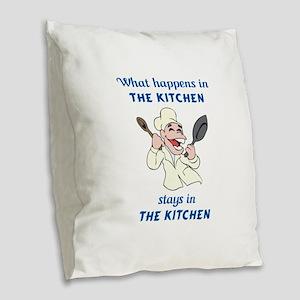 WHAT HAPPENS IN KITCHEN Burlap Throw Pillow