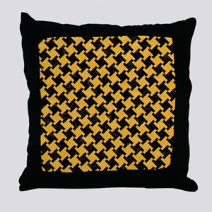 HOUNDSTOOTH2 BLACK MARBLE & ORANGE CO Throw Pillow