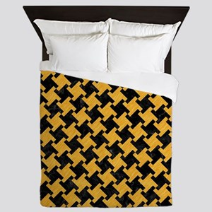HOUNDSTOOTH2 BLACK MARBLE & ORANGE COL Queen Duvet