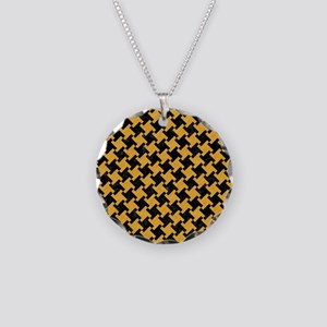 HOUNDSTOOTH2 BLACK MARBLE & Necklace Circle Charm