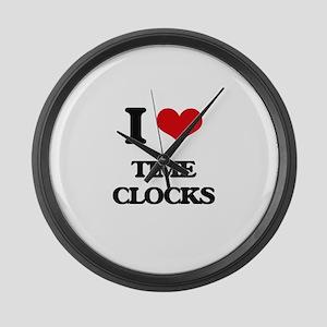I love Time Clocks Large Wall Clock