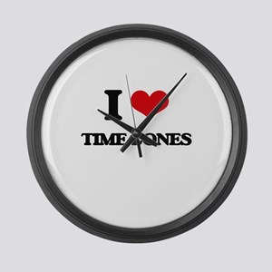 I love Time Zones Large Wall Clock