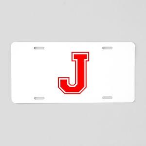 J-var red Aluminum License Plate