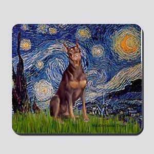 Starry / Red Doberman Mousepad