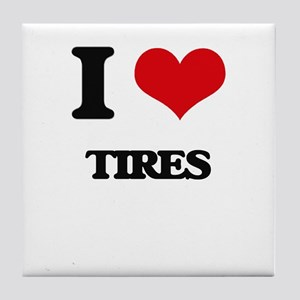 I Love Tires Tile Coaster