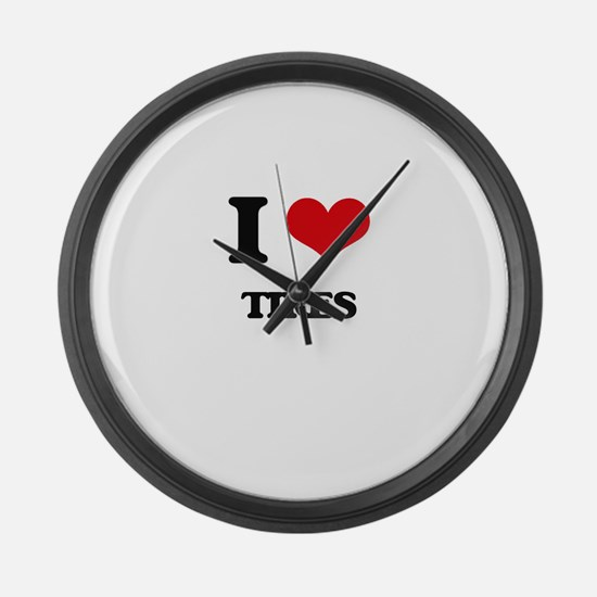 I Love Tires Large Wall Clock