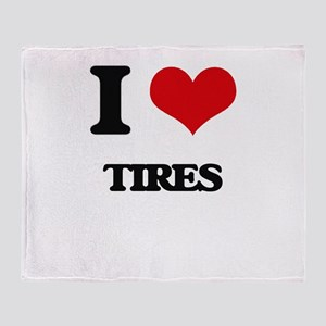 I Love Tires Throw Blanket