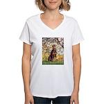 Spring / Doberman Women's V-Neck T-Shirt