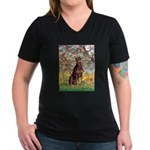 Spring / Doberman Women's V-Neck Dark T-Shirt