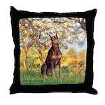 Spring / Doberman Throw Pillow