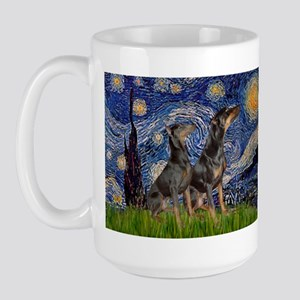 Starry Night / 2 Dobies Large Mug