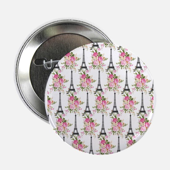 "Floral Eiffel Tower 2.25"" Button (10 pack)"