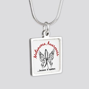 Melanoma Butterfly 6.1 Silver Square Necklace