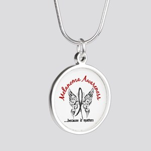 Melanoma Butterfly 6.1 Silver Round Necklace